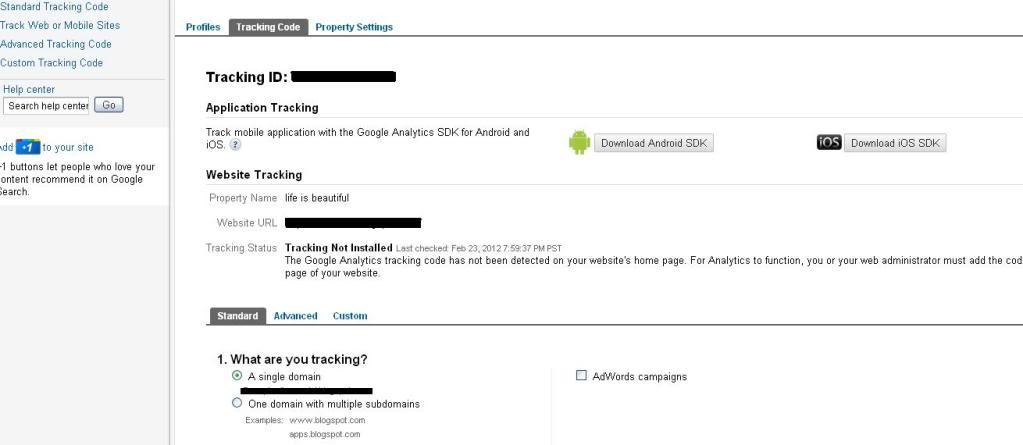 """""""google analytics tracking code"""""""
