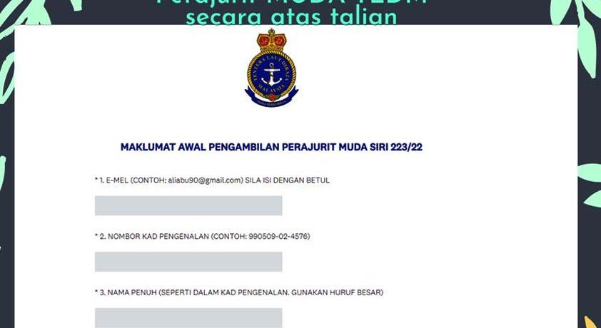 Permohonan Perajurit Muda TLDM 2021 Pemilihan Awal